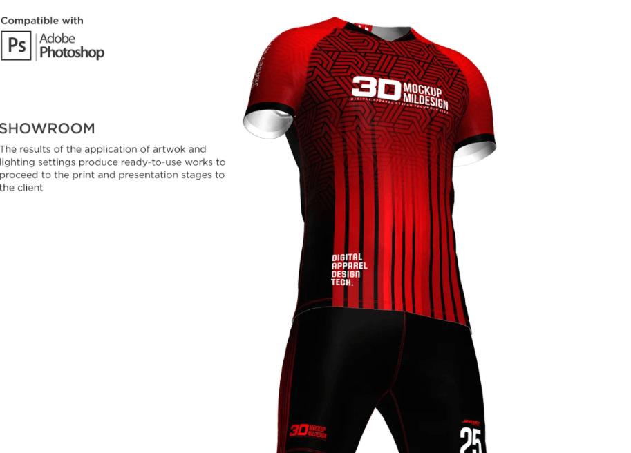 3D Men's Soccer Jersey Kit Mockup