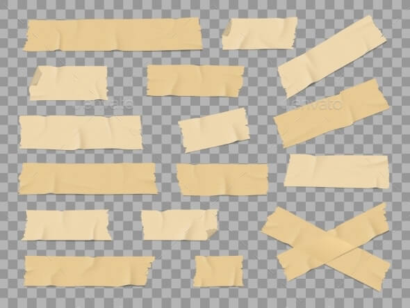 Adhesive or Duct Tape Crumpled Stripes Mockups Set (1)