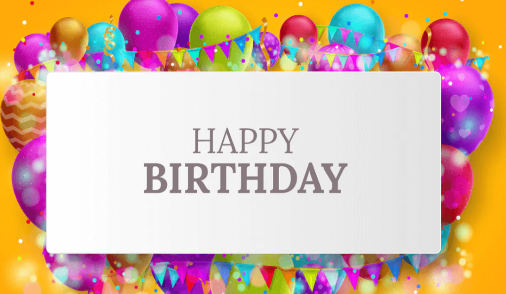 Birthday card with colorful balloons and confetti
