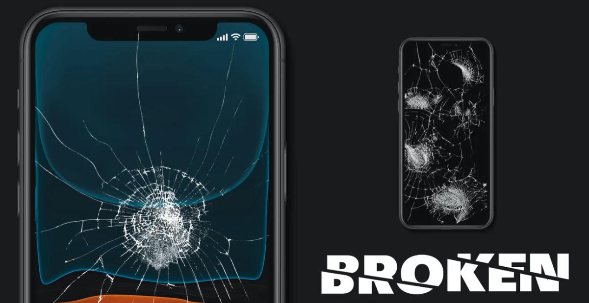 Broken Glass Screen Mockup