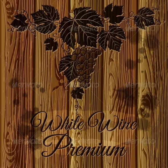 Bunch of grapes graven on a wood plank background (1)