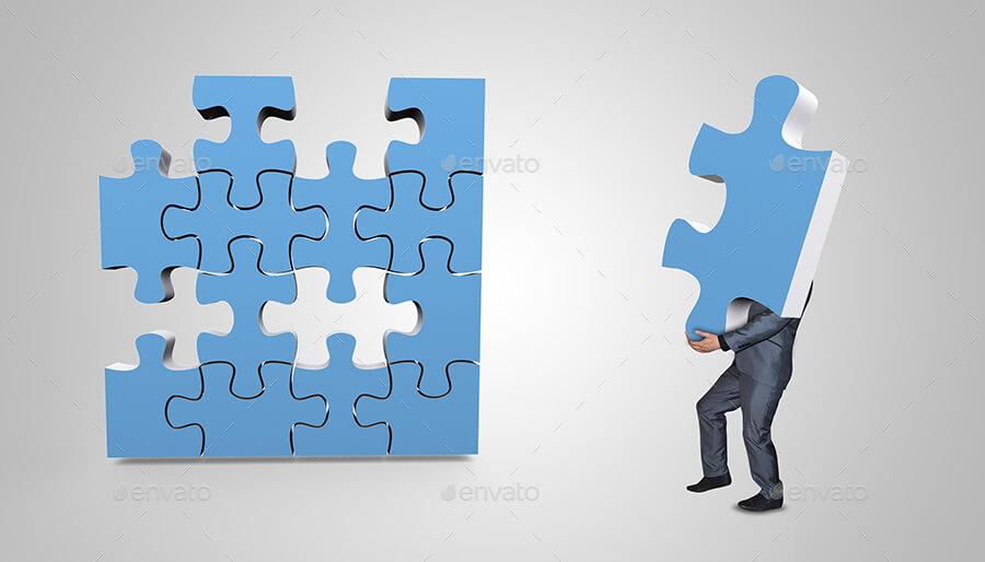 Businessman Assembling 3D Puzzle Mockup (1)