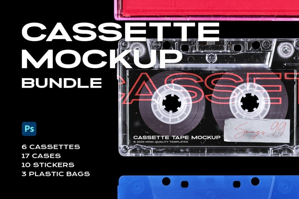 Cassette Tape Mockup Bundle Plastic (1)