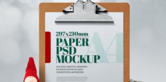 Christmas A4 Flyer Clipboard Mockup