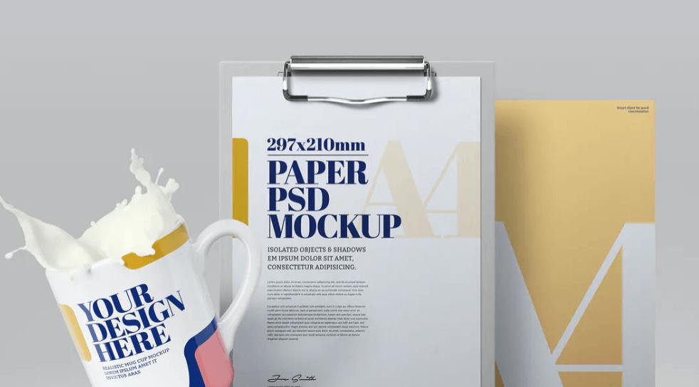 Clipboard Mockup A4 Mug Splash