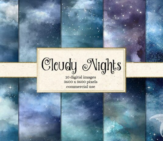 Cloudy Night Watercolor Sky Textures (1)