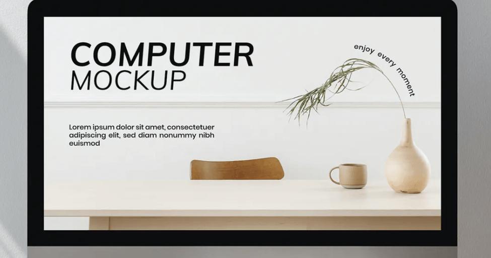 Computer screen mockup in workspace