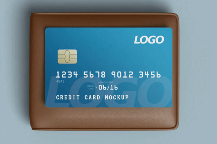 Credit card mockup with wallet