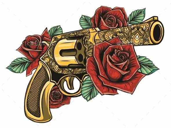 Drawing of a Gun with Colored Roses (1)
