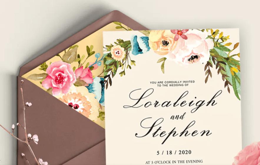 Floral Wreath Wedding Invitation Card
