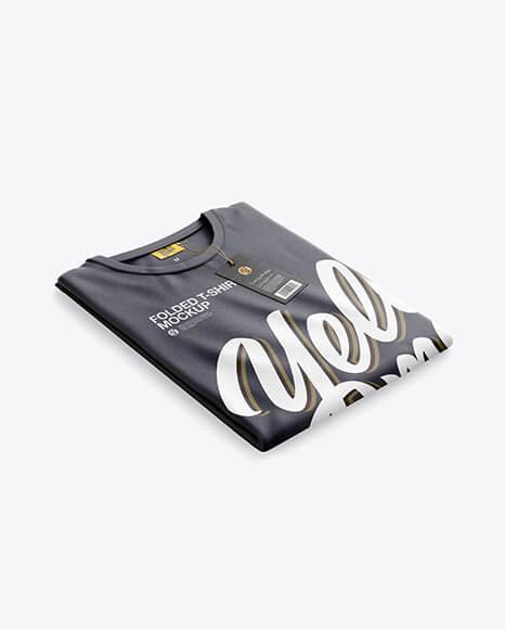 Folded T-Shirt Mockup - Half SIde View (1)
