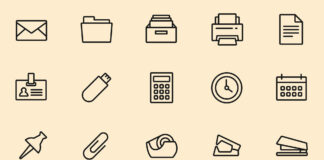 Free 25+ Essential Office Tools Vector Icons (1)