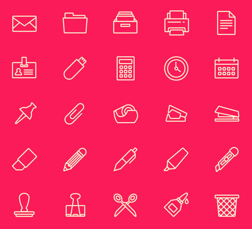 Free 25+ Essential Office Tools Vector Icons1 (1)