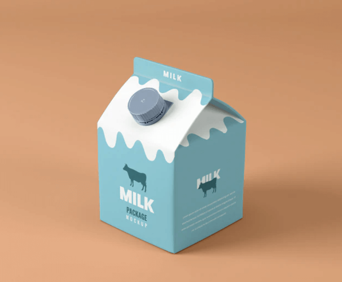 Free Added Protein Small Milk Box Mockup PSD Template