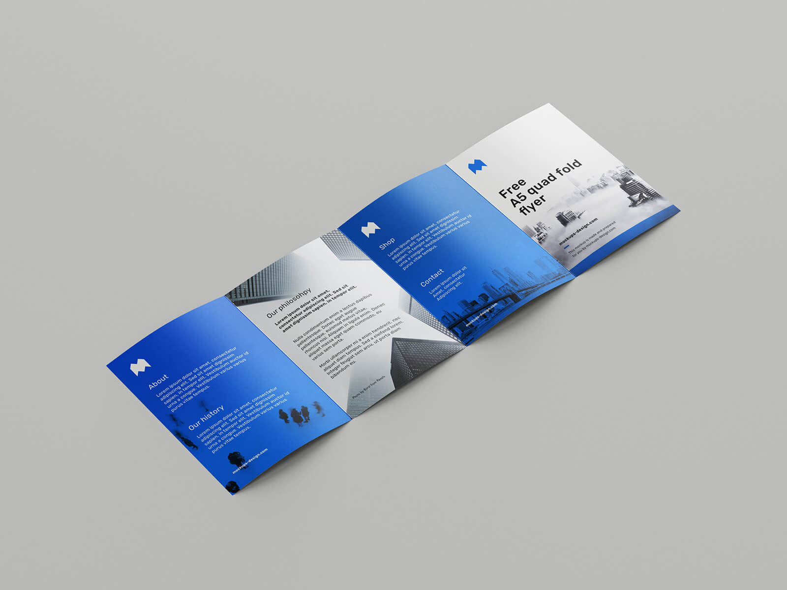 Free Blue A5 Quad Fold Flyer Mockup PSD Template (1)