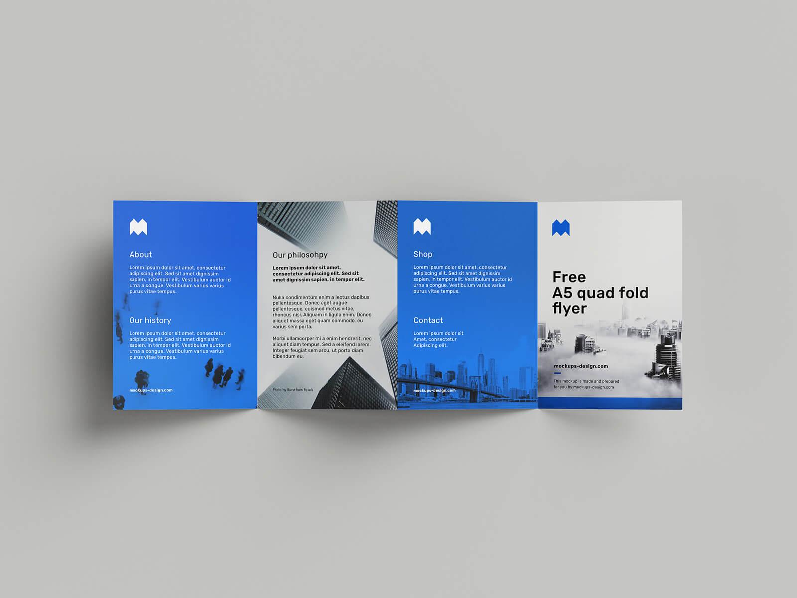 Free Blue A5 Quad Fold Flyer Mockup PSD Template2 (1)