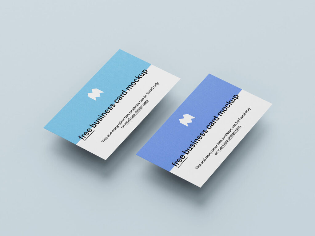 Free Blue Business Cards Mockup PSD Template1 (1)
