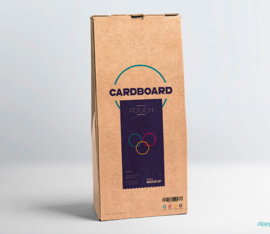 Free Cardboard Pouch Packaging Mockup PSD Template (1)