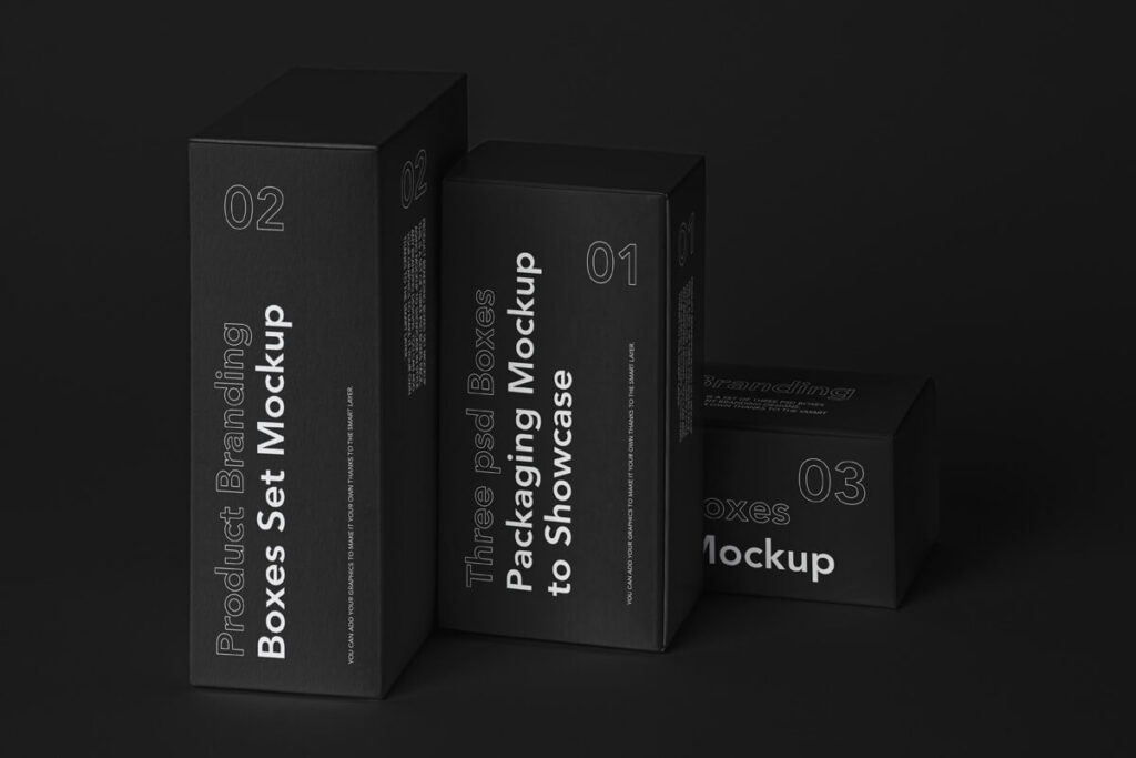 Free Box Mockup Product Branding Set PSD Template