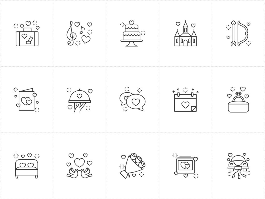 Free Cute Wedding Vector Icons (1)