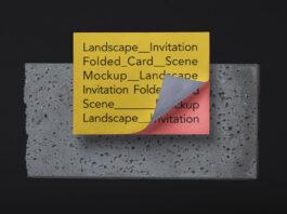 Free Folded Landscape Invitation Card Mockup PSD Template (1)