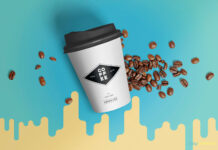 Free Golden Coffee Cup Mockup PSD Template (1)
