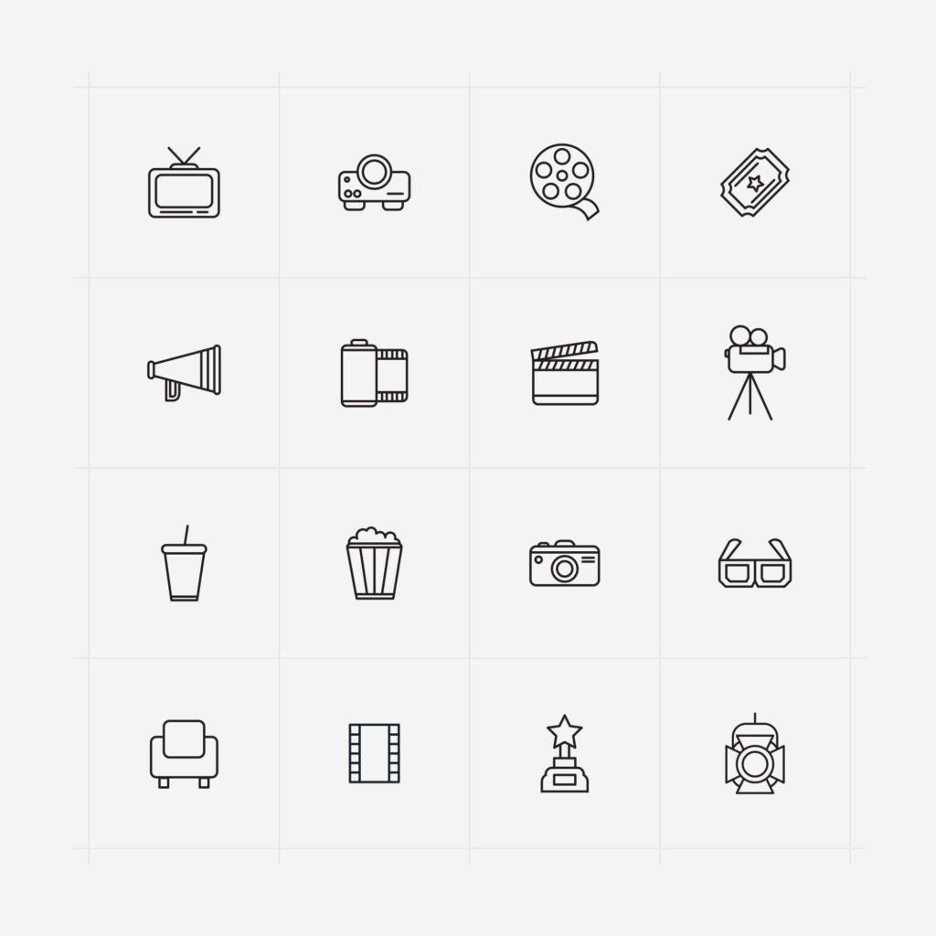 Free PVR Line Cinema Vector Icons (1)