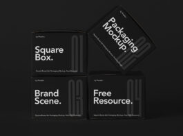 Free Packaging Square Boxes Mockup Set PSD (1)