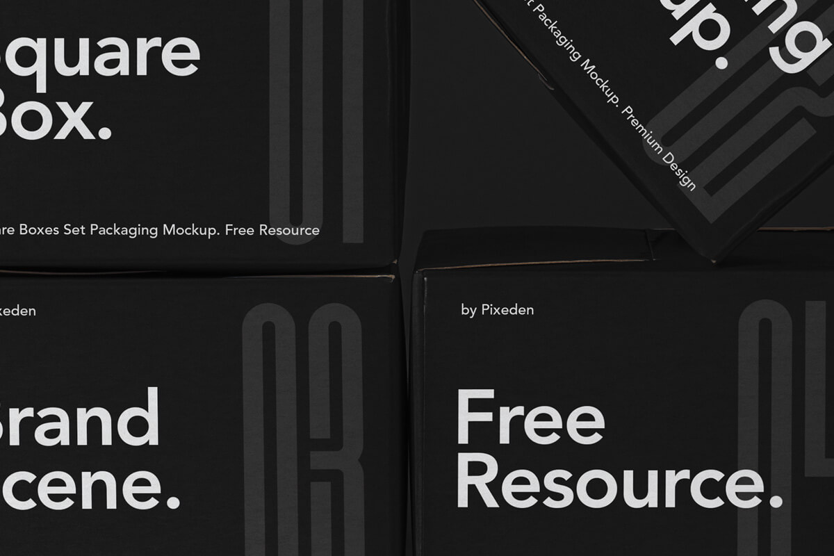 Free Packaging Square Boxes Mockup Set PSD4 (1)