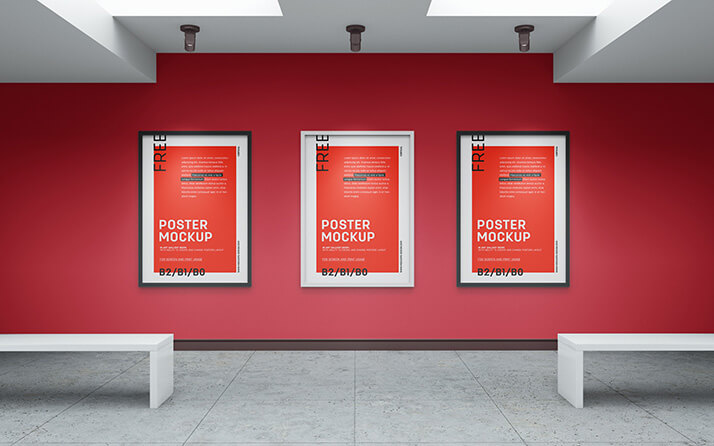 Free Realistic Art Gallery Mockup PSD Template (1)