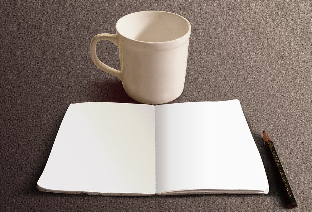 Free Sketchbook And Coffee Cup Mockup PSD Template2 (1)