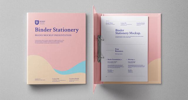 Free Stationery Ring Binder Folder Mockup PSD Template (1)