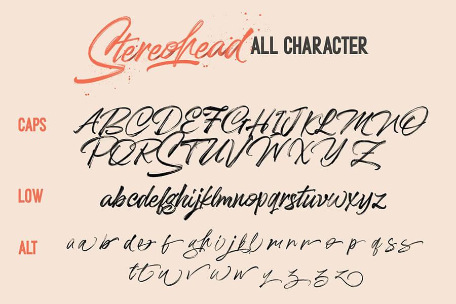 Free Stereohead Brush Lettering Font2 (1)