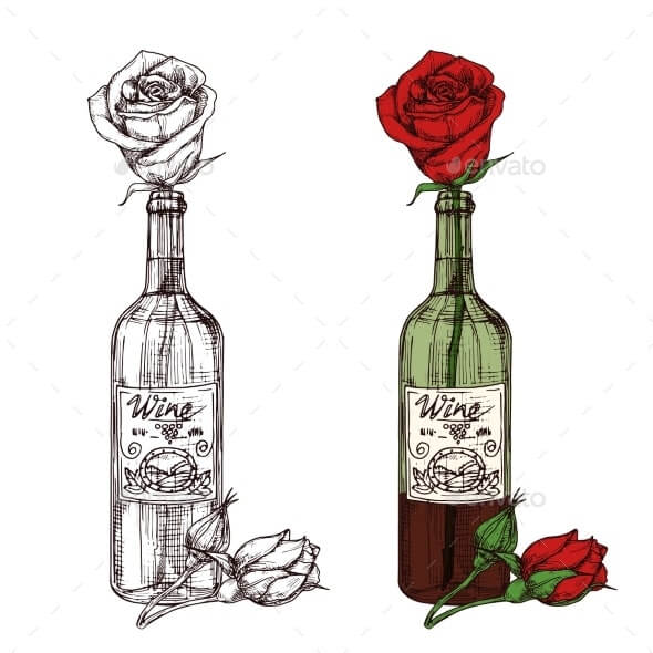 Hand Drawn Sketched Rose in Wine Bottle Vector (1)