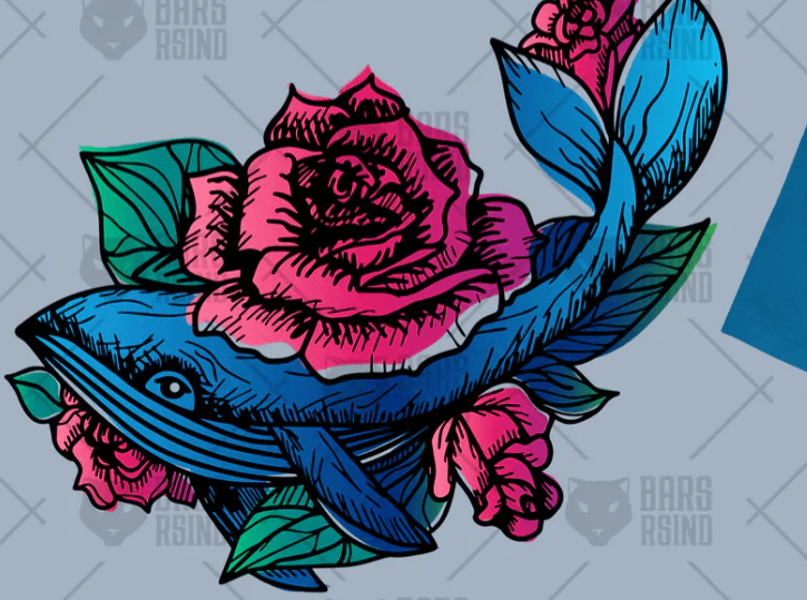 Hand Drawn Whale In Roses