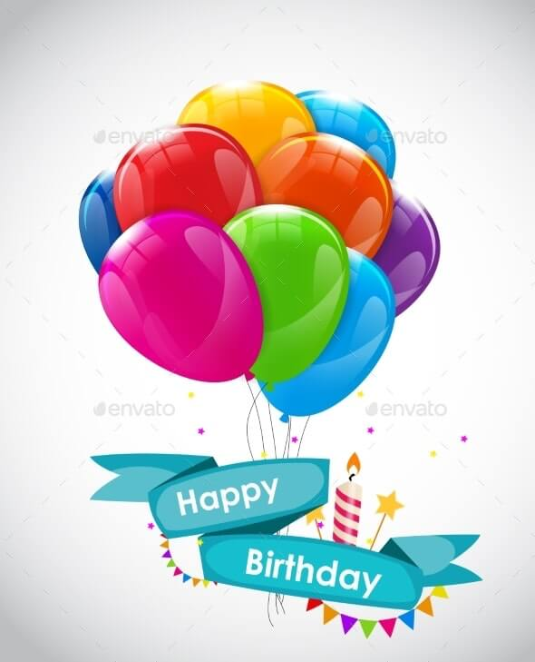 Happy Birthday Card Template with Balloons (1)