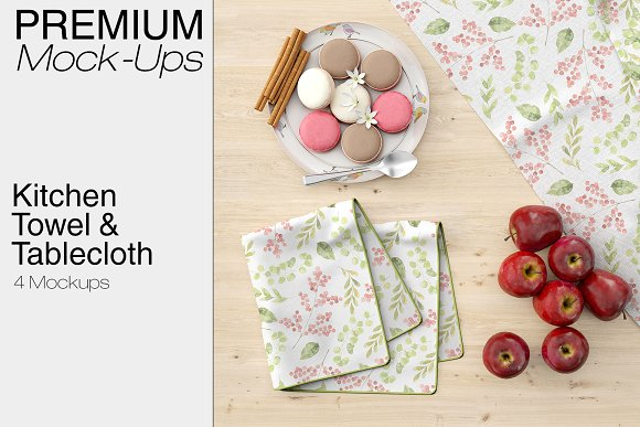 Kitchen Towel Mockup & Tablecloth With Dinner set