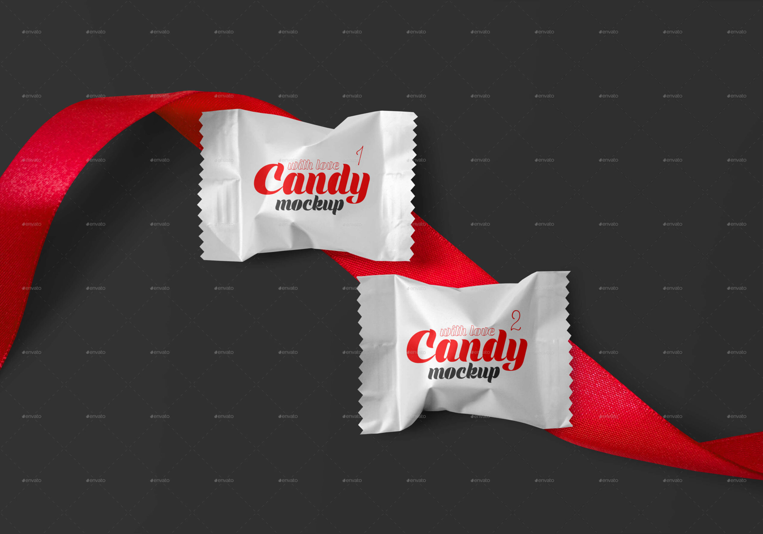 Matte Candy with Red Ribbon Mockup Set (1)