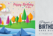 Paper Art Happy Birthday Vector Card Vol