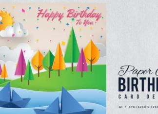 Paper Art Happy Birthday Vector Card Vol