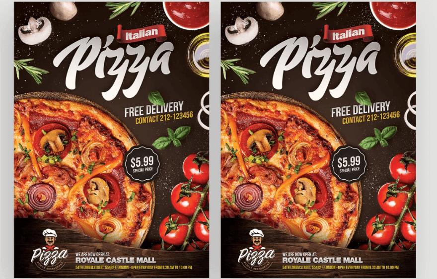 Pizza Restaurant Flyer + Instagram