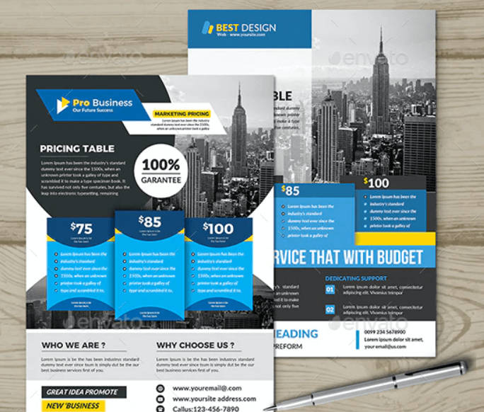 Pricing Table Flyer Template