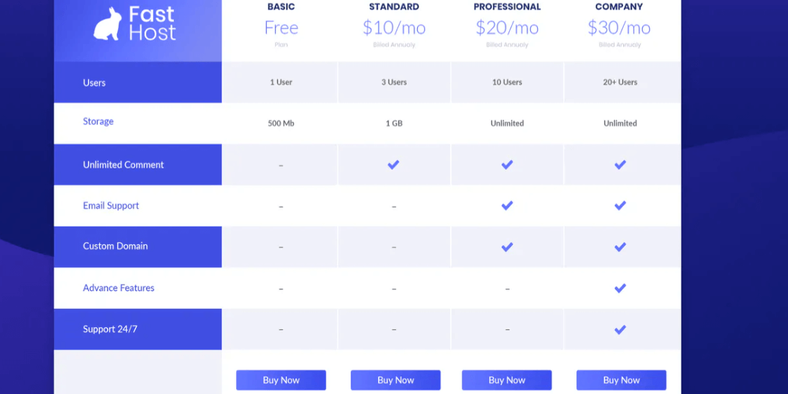 Pricing Table1
