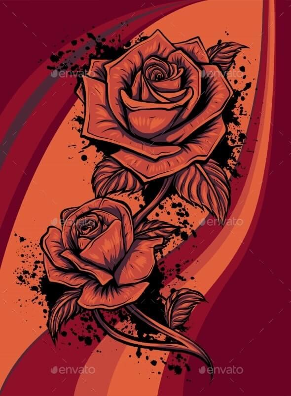 Rose Flower Vector Design Beautiful Rose Flower (1)