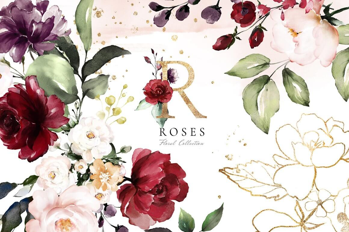 Roses Watercolor Floral Collection (1)