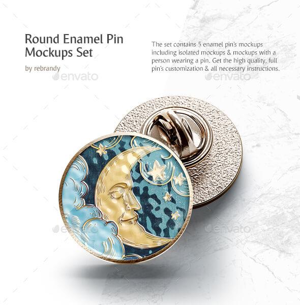 Round Enamel Pin Mockups Set (1)