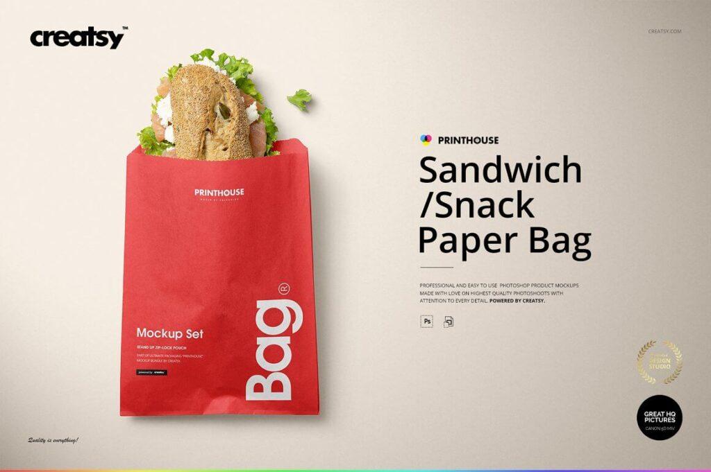 Sandwich Snack Paper Bag Mockup Set (1)