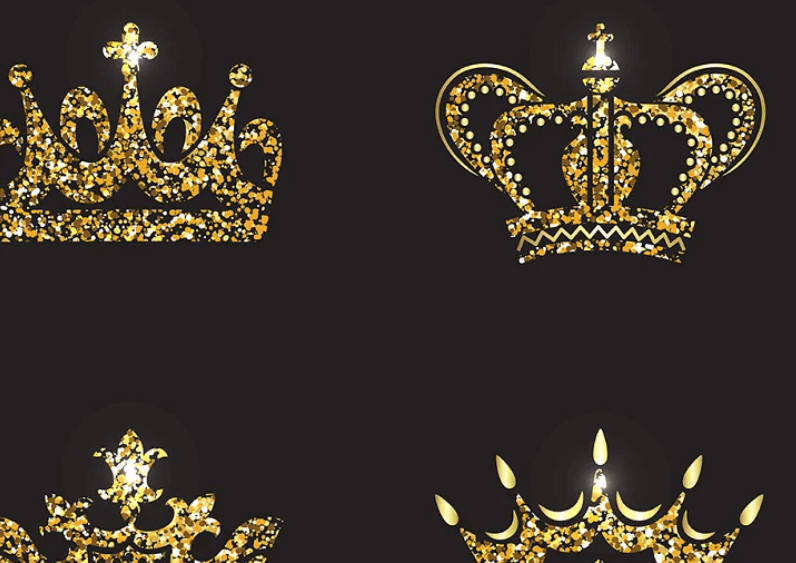 Set of gold and silver crown icons