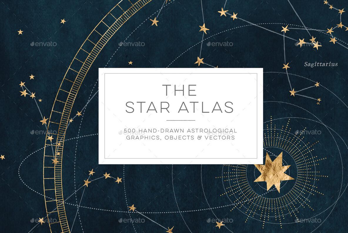 Star Atlas Astrology Design Set - Hand Drawn Zodiac Constellations, Galaxy, Symbols, Icons, Textures (1)
