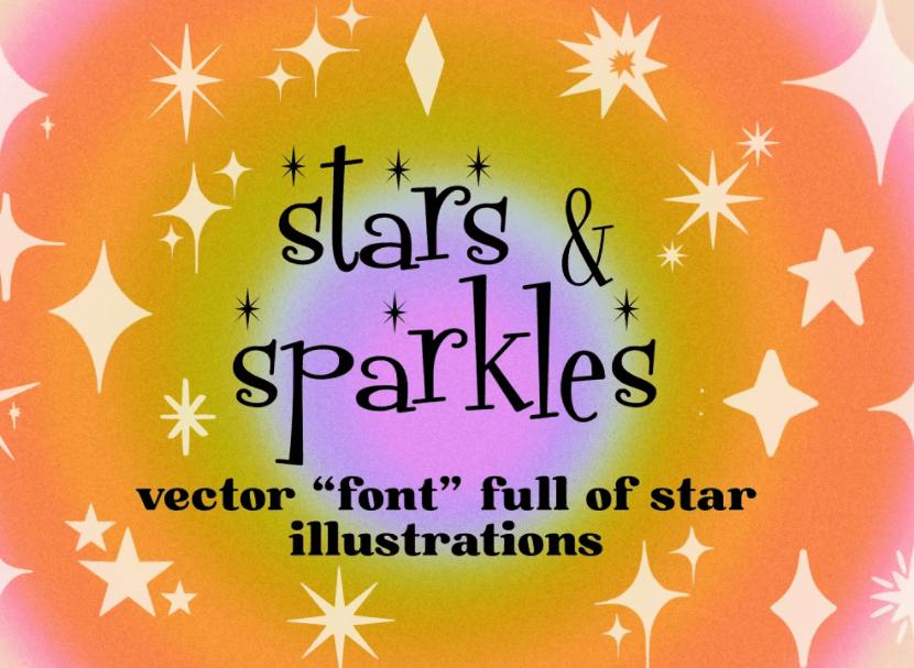 Stars and Sparkles Illustration Font